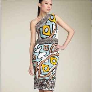 DVF Silk Graphic Tribal One Shoulder Dress
